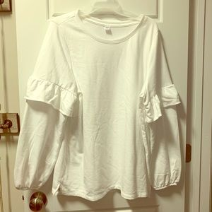 NWOT - White Ruffle Sleeve Pullover